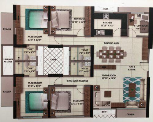 4.5 Bed - 1497 -Unit Plan
